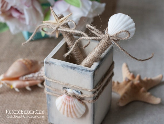 Beach wedding Guest Book Pen and pen holder