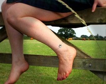Shamrock Anklet, Ankle Bracelet, chain, British Made, Ireland (ae)