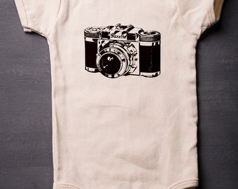 Baby Bodysuit - Vintage Camera - Baby Shower Gifts - Baby Clothes - Organic Cotton - Screen Printed