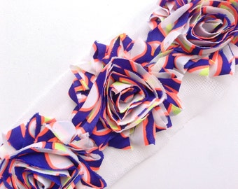 Shabby Rose Flower Trim--Blue and Orange Abstract
