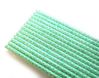 Mint Quatrefoil Paper Straws (25) - Party Paper Straws, Drinking Straws
