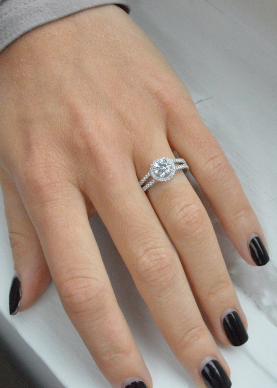 Split shank halo engagement ring brilliant cubic by barargent for Split shank engagement ring with wedding band