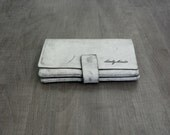 White stone wash leather purse - leather wallet- Billy wallet