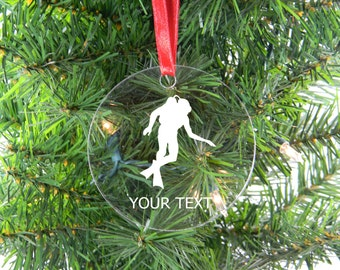 Personalized Custom Scuba Diver Clear Acrylic Christmas Tree Ornament
