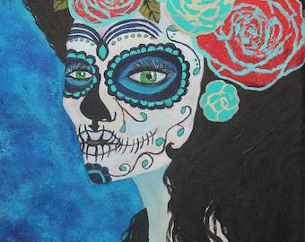 Giclee PRINT 11x14 Day of the Dead Blue Widow Lady Flowers Azul Professional Black Matting Sugar Skull Acrylic Painting Mexican Hispanic Art