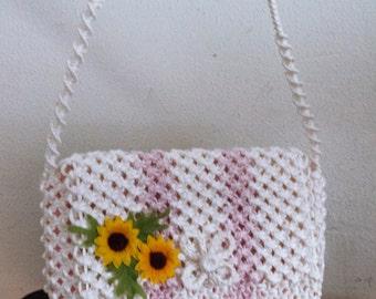 Weaved Nylon Purse,summer purse,White , Sunflowers, shoulder bag