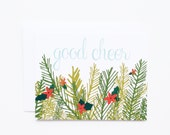 Christmas Card Set | Good Cheer Holiday Card Set, Illustrated Christmas Cards with Hand Lettering