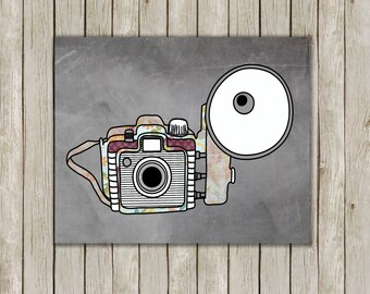 8x10 Retro Camera Print, Chalkboard Printable Wall Art, Office Wall Print, Nursery Art, Home Decor, Wall Poster, Instant Digital Download