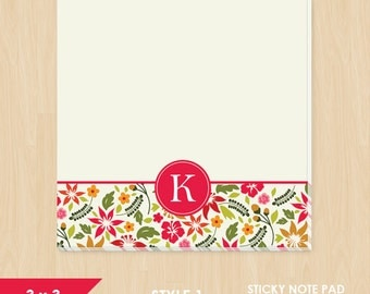 Personalized Sticky Note // Hawaiian Floral with Monogram Initial // S123
