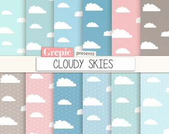 "SALE 50% Clouds digital paper: ""CLOUDY SKIES""  clouds backgrounds in blue, pink, gray, rainy days, sky papers, rain, polkadots, pa"