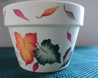 SALE 25% OFF*Hand painted Flower PoT*Fall Autumn*Leaf Design*2 Available~Garden~Planter~Hostess Gift~*With Clear saucer