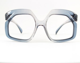 Vintage Eyeglass Frame | Translucent Clear and Blue Grey Ombre | Oversize Square Glasses  - Sly