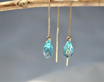 Light Turquoise Swarovski Crystal Gold-Filled Threader Earrings - Bridesmaid Earrings - Bridal Earrings - Handmade Minimalist Jewelry