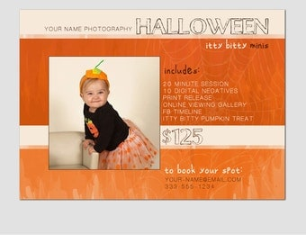 CLEARANCE - Mini Session Postcard - Photography Template - Halloween Minis -  5x7 - Minis - Photoshop - Elements - Easy - Spider - Orange