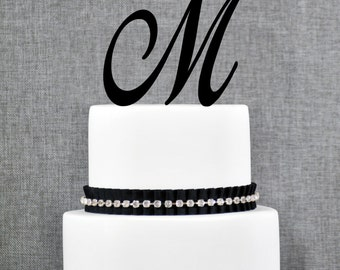Personalized Monogram Initial Wedding Cake Toppers - Letter M, Elegant Cake Toppers, Unique Cake Topper, Traditional Topper