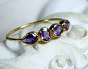 Amethyst Gemstone 14K Gold Birthstone Band - February Birthday  - Made to Order