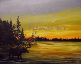 ORIGINAL ACRYLIC PAINTING; moose, Free shipping, sunset, wilderness lake, Canada, nature, wall art, 16 x 20 inches,