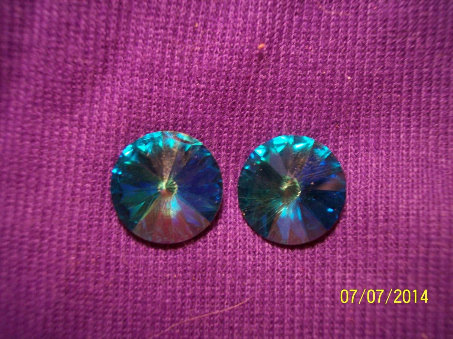 blue plastic iridescent post earrings 243 by michellesshop64