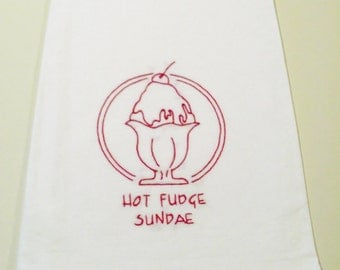 "Hand-Embroidered Kitchen Towel - ""Death by Chocolate - Hot Fudge Sundae"""
