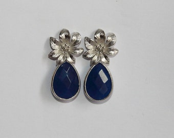 Free Shipping. Silver plated earrings with blue jade pendant. Hand made