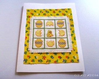 Chick Greeting Card - Chick and Eggs Cross-Stitch Greeting Card