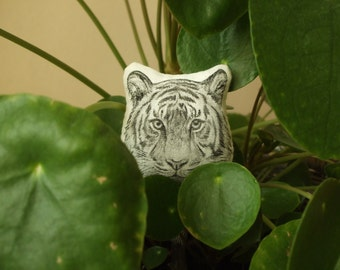 tiger shape brooch animal jewerly white tiger bengal tiger shere khan hand drawn painted soft jungle animal on fabric cotton