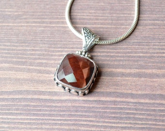 Square Antiqued Red Tiger's Eye Pendant