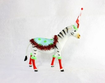 """Party Animal """"Becca"""" The Zebra - painted carnival, circus, birthday decor"""