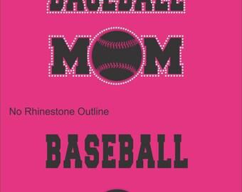 Baseball Mom Sweatshirt/ Rhinestone Baseball Mom/ Vinyl Rhinestone Baseball Mom Hoodie Sweatshirt/ Baseball Mom Shirts