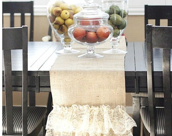 Duble Ruffled and lace Burlap Table Runner  - Wedding Runner