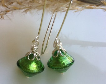 Emerald Green Earrings / Venetian Glass Earrings / Glass Dangles /  Green Glass  / Glass Drop Earrings / Sterling Silver Earrings