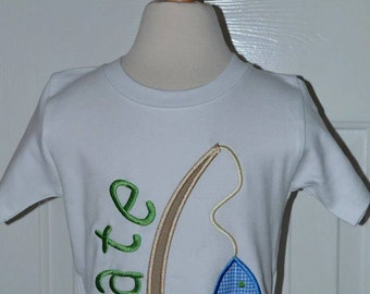 Personalized Fish on Pole Applique Shirt or Onesie Boy or Girl