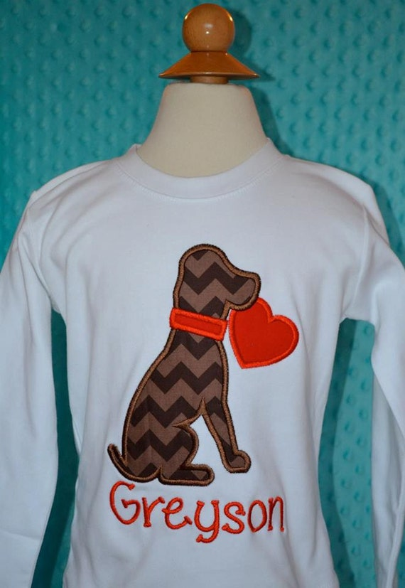 Personalized Valentine 39 S Dog Puppy Heart Applique Shirt Or