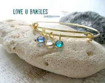 Personalized Birthstone Bangle Swarovski Crystal Birthstones Mothers bangle Family Bracelet Bridesmaid Gifts personalized bangle birthstones