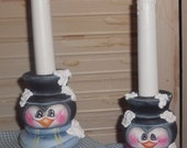 Handpainted Wooden Penguin Candle Holder with a BLUE Scarf