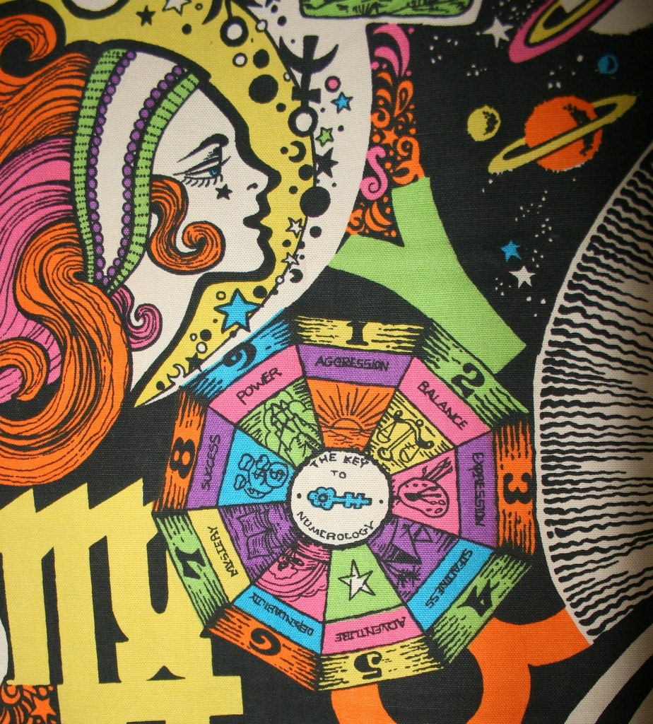 Vintage 60s Psychedelic Pop Art Fabric Astrological Peace Sign
