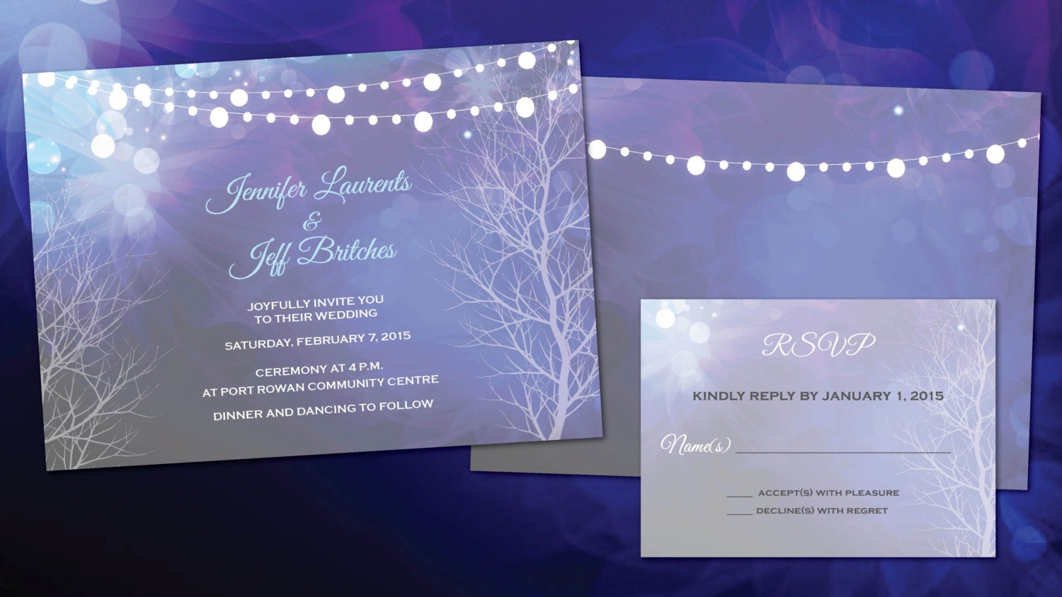Evening Wedding Reception Invitations: Purple & Crystal Blue Wedding Invitations Evening Weddings