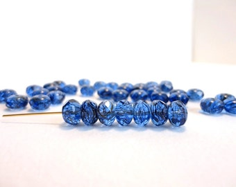 20 x 5x8mm Czech Glass Beads, Gemstone Donut Beads, Rondelle Beads, Blue With Black Swirls Faceted Beads GMD0079