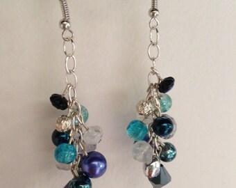 Blue Beaded Cluster Earrings