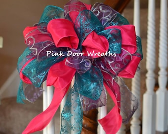 "13"" CHRISTMAS TREE TOPPER bow decor fuchsia pink teal turquoise purple silver staircase attachment (others available)"
