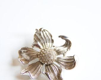 Vintage Boucher Brooch, Silver tone dogwood flower, Vintage dogwood flower brooch