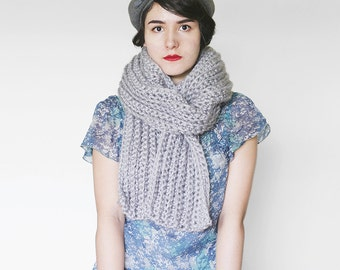 Chunky Long Scarf -  Crochet Scarf - Winter Accesory in Grey | The Io Scarf |