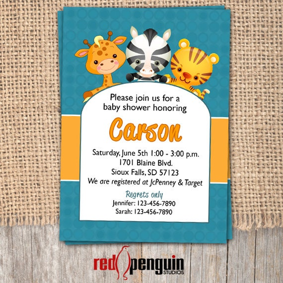 baby shower invitation zoo themed printable by redpenguinstudios