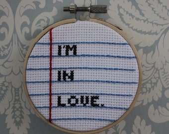 SALE I'm in Love Notebook Cross Stitch
