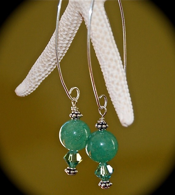 Swarovski Earrings,Natural Stone Earrings,, Aventurine Stone Hook Earrings