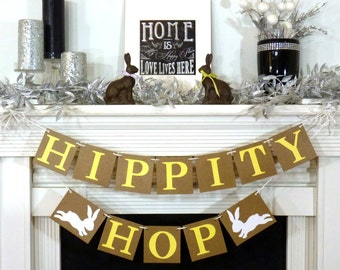Happy Easter Banner / Hippity Hop Banner Decoration / Rustic Garland / Bunny Trail / Decoration Banner / Easter Photo Prop / READY TO SHIP