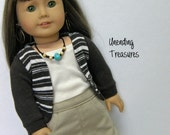 American Girl doll clothes, 18 inch doll clothes, Khaki jean skirt,  cream tank top, brown & cream striped cardigan sweater, and necklace