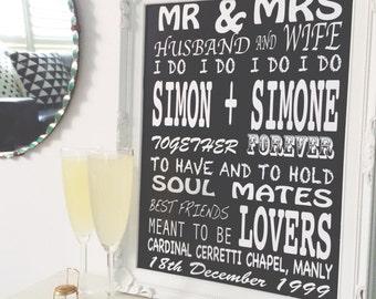 Print by Honey and Fizz - Custom Wedding Print - printed on matt 200gsm paper. White font on black ink