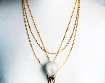 gold magpie bird skull necklace in natural bone and metallic gold with gold chainmaille necklace