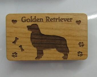 Original Design Golden Retriever Wood Magnet